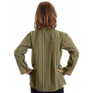 Mittelalter Kinderhemd Anfortas in Grün gestreift Rückansicht