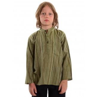 Mittelalter Kinderhemd Anfortas in Grün gestreift Frontansicht