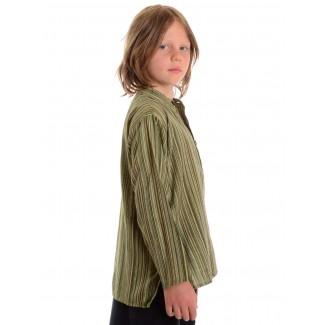 Mittelalter Kinderhemd Anfortas in Grün gestreift Seitenansicht