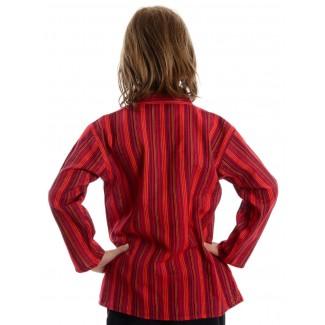 Mittelalter Kinderhemd Anfortas in Rot gestreift Rückansicht