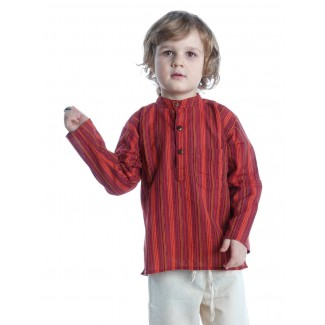 Mittelalter Kinderhemd Anfortas in Rot gestreift Frontansicht