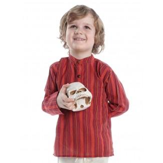 Mittelalter Kinderhemd Anfortas in Rot gestreift Frontansicht 2
