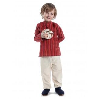 Mittelalter Kinderhemd Anfortas in Rot gestreift Frontansicht 3