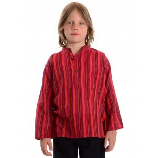 Mittelalter Kinderhemd Anfortas in Rot gestreift Frontansicht 4