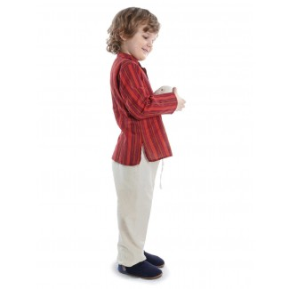 Mittelalter Kinderhemd Anfortas in Rot gestreift Seitenansicht