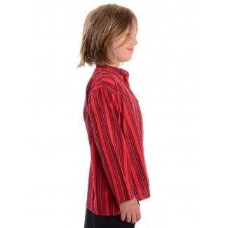 Mittelalter Kinderhemd Anfortas in Rot gestreift Seitenansicht 2
