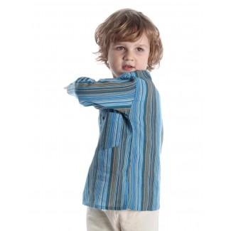 Mittelalter Kinderhemd Anfortas in Türkis gestreift Seitenansicht