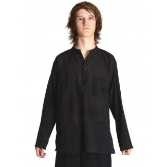 Mittelalter Hemd Anfortas in Schwarz Frontansicht