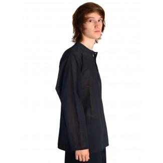 Mittelalter Hemd Anfortas in Schwarz Seitenansicht