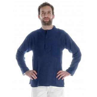 Mittelalter Hemd Anfortas in Blau Frontansicht