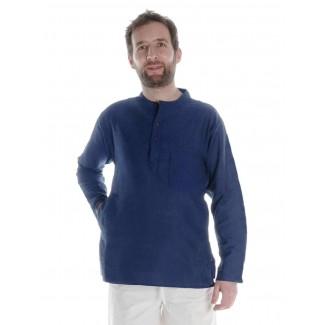 Mittelalter Hemd Anfortas in Blau Frontansicht 2