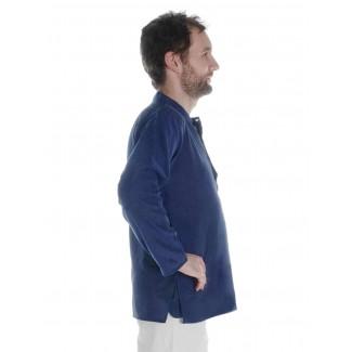 Mittelalter Hemd Anfortas in Blau Seitenansicht