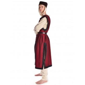 Mittelalter Waffenrock Balmung in Rot-Schwarz Seitenansicht
