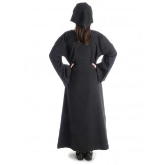 Mittelalter Kleid Sigune in Schwarz Rückansicht