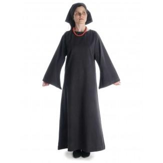 Mittelalter Kleid Sigune in Schwarz Frontansicht