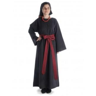 Mittelalter Kleid Sigune in Schwarz Frontansicht 2