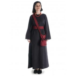 Mittelalter Kleid Sigune in Schwarz Frontansicht 3