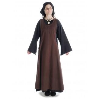 Mittelalter Kleid Sigune in Schwarz Frontansicht 4