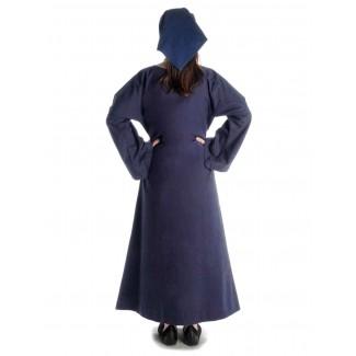 Mittelalter Kleid Sigune in Blau Rückansicht