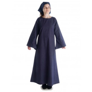 Mittelalter Kleid Sigune in Blau Frontansicht