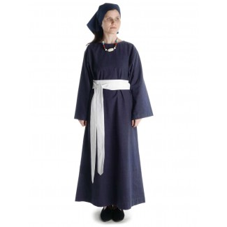 Mittelalter Kleid Sigune in Blau Frontansicht 2