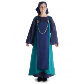 Mittelalter Kleid Sigune in Blau Frontansicht 4
