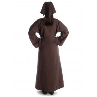 Mittelalter Kleid Sigune in Braun Rückansicht