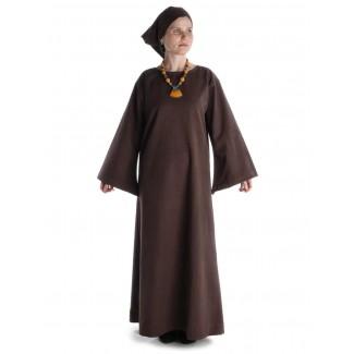 Mittelalter Kleid Sigune in Braun Frontansicht