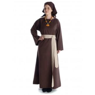 Mittelalter Kleid Sigune in Braun Frontansicht 2