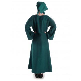 Mittelalter Kleid Sigune in Grün Rückansicht