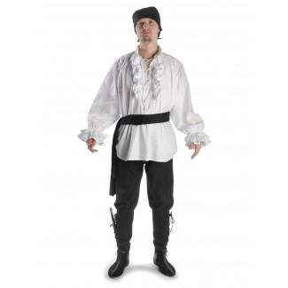 Mittelalter Rüschenhemd Isenhart in Weiß Frontansicht