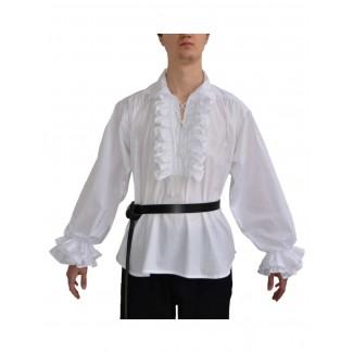 Mittelalter Rüschenhemd Isenhart in Weiß Frontansicht 3