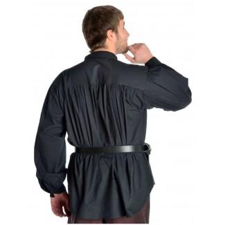 Mittelalter Schnürhemd Klingsor in Schwarz Rückansicht