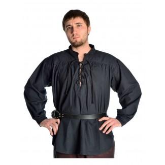 Mittelalter Schnürhemd Klingsor in Schwarz Frontansicht