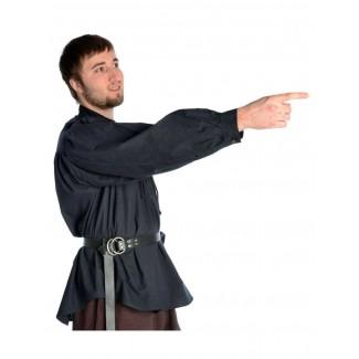 Mittelalter Schnürhemd Klingsor in Schwarz Seitenansicht
