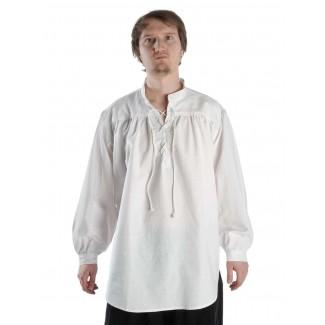Mittelalter Schnürhemd Klingsor in Weiß Frontansicht