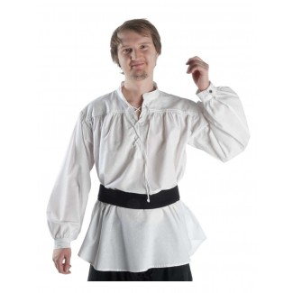 Mittelalter Schnürhemd Klingsor in Weiß Frontansicht 2