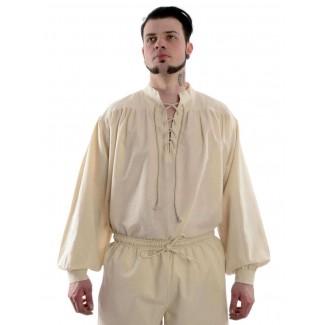 Mittelalter Schnürhemd Artus in Beige Frontansicht 2