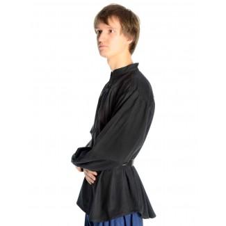 Mittelalter Schnürhemd Artus in Schwarz Seitenansicht