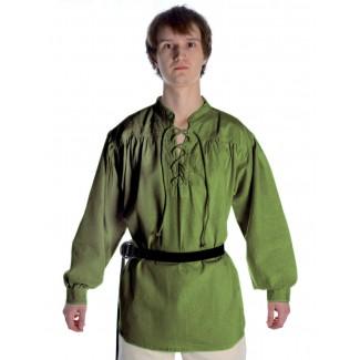 Mittelalter Schnürhemd Artus in Olivgrün Frontansicht