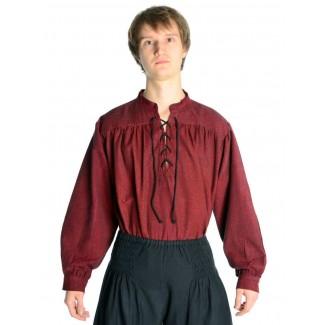 Mittelalter Schnürhemd Artus in Rot Frontansicht 2