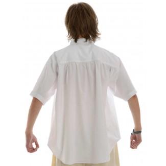 Mittelalter Schnürhemd Klingsor Kurzarm in Weiß Rückansicht