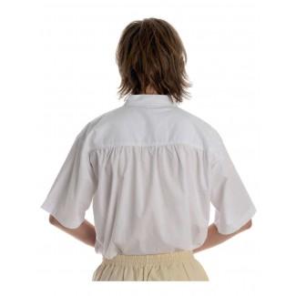 Mittelalter Schnürhemd Klingsor Kurzarm in Weiß Rückansicht 2