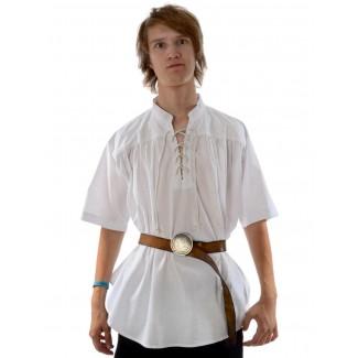 Mittelalter Schnürhemd Klingsor Kurzarm in Weiß Frontansicht
