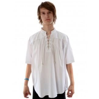 Mittelalter Schnürhemd Klingsor Kurzarm in Weiß Frontansicht 2