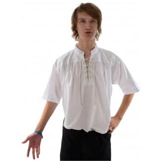 Mittelalter Schnürhemd Klingsor Kurzarm in Weiß Seitenansicht