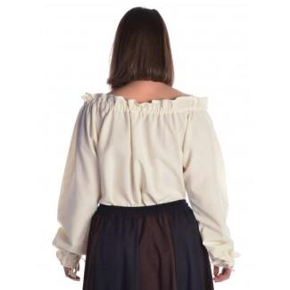 Mittelalter Bluse Gotelinde in Beige Rückansicht