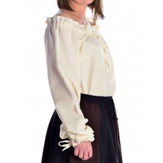 Mittelalter Bluse Gotelinde in Beige Seitenansicht