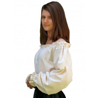 Mittelalter Bluse Gotelinde in Beige Seitenansicht 2