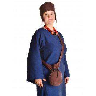 Mittelalter Tasche Amalaberga in Braun Frontansicht 3